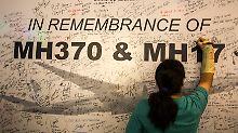 Gedenken an die Opfer des Fluges MH370. Die Maschine verschwand im März auf dem Weg von Kuala Lumpur nach Peking spurlos.