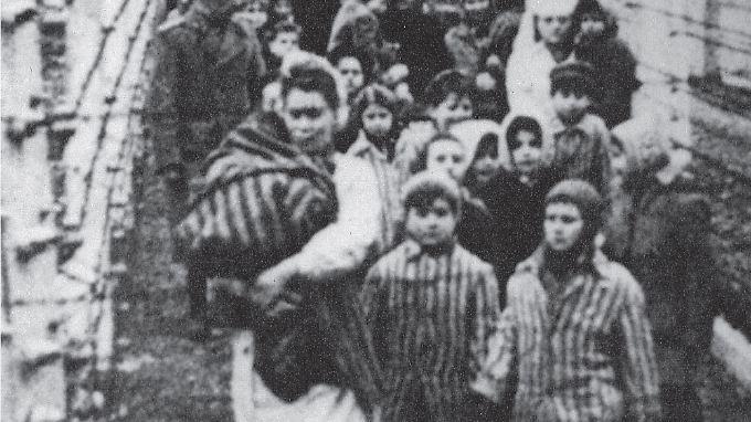 Eva (l) und Miriam (r) nach der Befreiung Ende Januar 1945. Für die Aufnahme zogen sie einen gestreiften Anzug an - normalerweise durften Zwillinge auch andere Kleidung tragen.