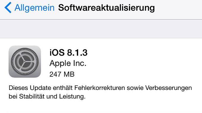 Das vermutlich letzte kleine Update vor iOS 8.2 ist da.