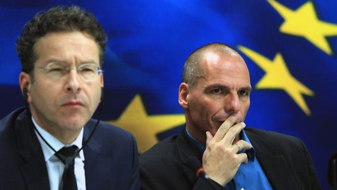 So sehen keine Partner aus: Dijsselbloem (l.) und Finanzminister Varoufakis.
