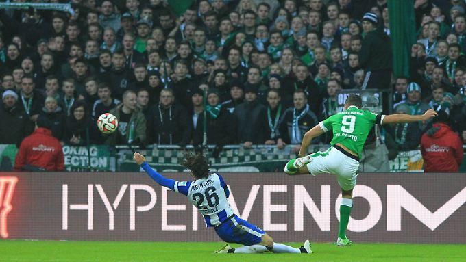 Und drin: Franco di Santo beim 1:0 gegen Hertha in der ersten Halbzeit.