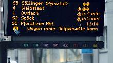 In Karlsruhe liegen so viele Straßenbahnfahrer mit Grippe flach, dass manche Linien nur noch alle 20 Minuten fahren können.