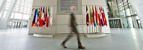 Im Gebäude der Europäischen Zentralbank (EZB) in Frankfurt am Main.