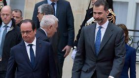 Spaniens König Felipe VI. mit Frankreichs Präsident Hollande