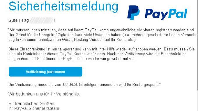Paypal würde so eine E-Mail niemals verschicken.
