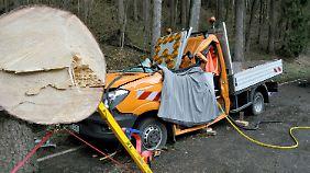 Auf dieses Fahrzeug der Straßenmeisterei stürzte in Montabaur ein Baum, zwei Menschen starben.