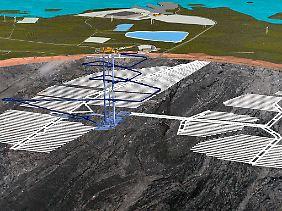 Ein Computerbild zeigt die schematische Darstellung der weitverzweigten Stollen für das unterirdische Endlager Onkalo.