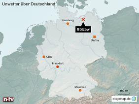Zwischen Schwerin und Rostock: Der Sturm hat Bützow voll erwischt.