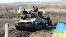 Ukrainische Soldaten. Die Armee bekommt die Lage in der Ostukraine nicht in den Griff, befürchtet werden weitere Gebietsverluste.