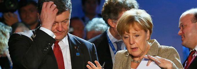Partnerschaft ja, aber keine EU-Mitgliedschaft: Ukraine-Präsident Poroschenko mit Kanzlerin Merkel.