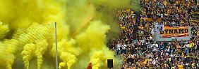 Gute Stimmung beim ostdeutschen Zuschauerkrösus Dynamo Dresden.