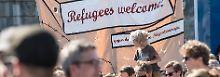 Bei einer Pro-Flüchtlingsveranstaltung am Wochenende in Dresden