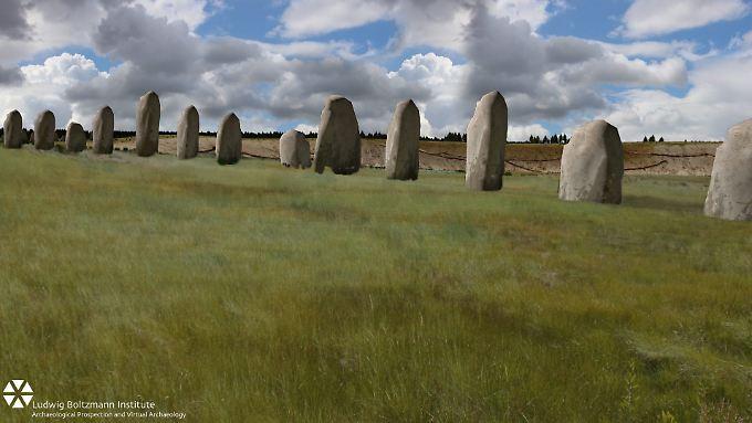 Die Computergrafik zeigt, wie die Steine damals aufgestellt gewesen sein könnten.