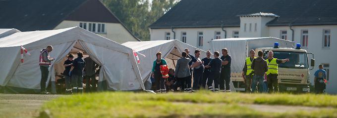 Flüchtlingslager in der Kaserne Oerbcke in Niedersachsen.