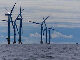 Windräder von Baltic 2 vor der Insel Rügen.