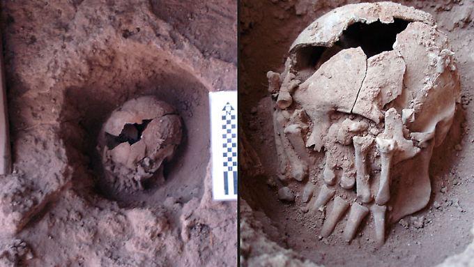 Überreste einer Bestattungszeremonie. Die Abbildung zeigt die Form der Bestattungsgrube (l) und die Anordnung der Hände vor dem Gesicht.