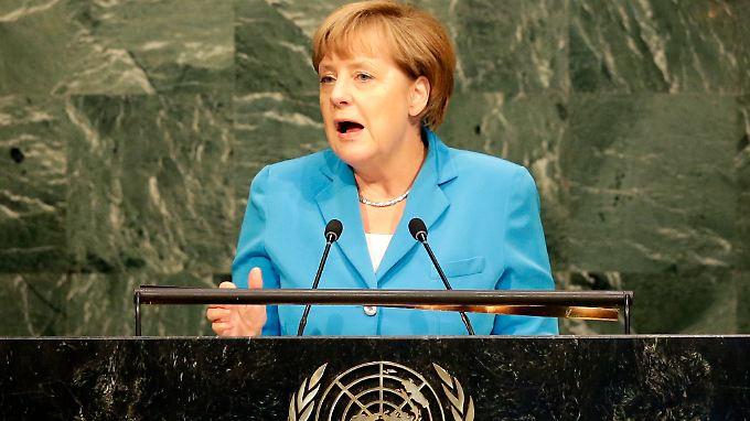 Angela Merkel ruft die UN-Mitgliedsstaaten dazu auf, Flucht und Vertreibung zu bekämpfen.