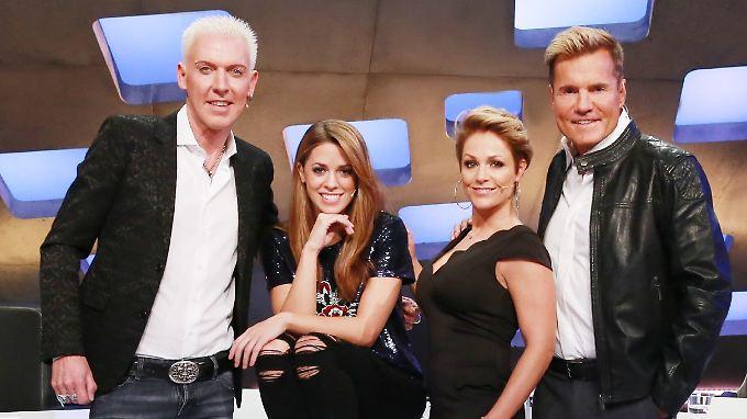 Keine Gnade vor Recht - die neue DSDS-Jury: H.P. Baxxter, Vanessa Mai, Michelle, Dieter Bohlen (v.l.n.r.).