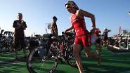 Bei den Frauen gewann die Schweizerin Daniela Ryf (im Bild). Die 28-Jährige deklassierte die Konkurrenz und erreichte mehr als 13 Minuten vor der Britin Rachel Joyce als Erste das Ziel auf dem Alii Drive in Kailua Kona. Dritte wurde nach 3,86 Kilometern Schwimmen, 180,2 Kilometern Radfahren und einem Marathon-Lauf Liz Blatchford aus Australien.