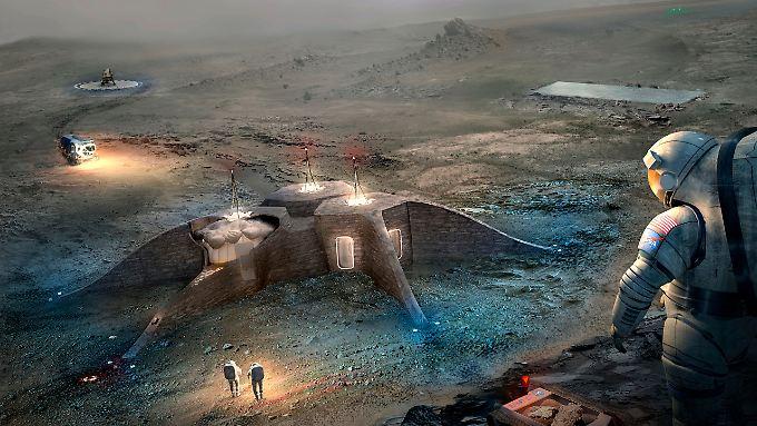 Nicht Vergangenheit, sondern eine Vision: Das Bild zeigt einen der Entwürfe für zukünftige Mars-Habitate - von Menschen bewohnt.