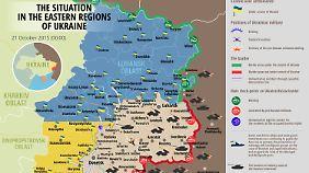 Bis vor einigen Wochen lieferten sich Separatisten und ukrainische Armee noch täglich Kämpfe entlang der Frontlinie, inzwischen hat sich die Lage deutlich beruhigt.