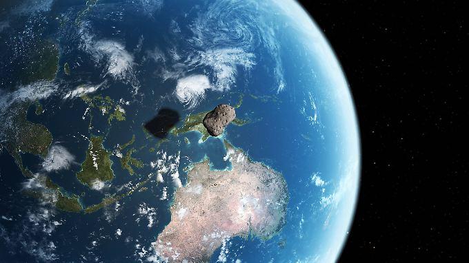 Die Computergrafik zeigt, einen kleinen  Asteroiden in Erdnähe.