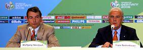 Der heutige DFB-Präsident Wolfgang Niersbach (l.) und Franz Beckenbauer im Jahr 2003: Damals arbeiteten beide im Organisationskomitee der WM 2006.