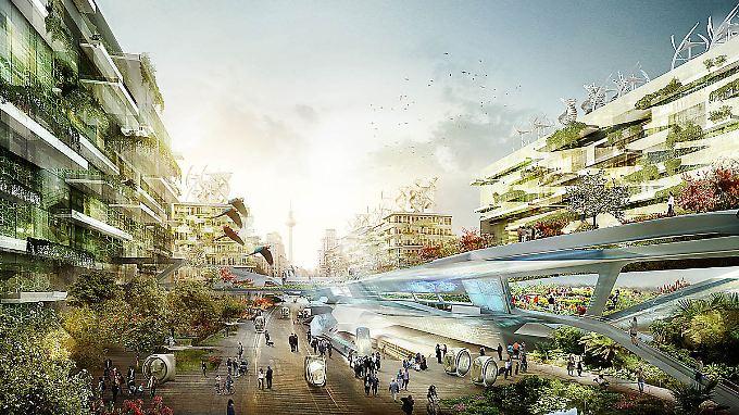 Bei diesem Zukunftsentwurf für Berlin gliedert sich der Verkehr harmonisch ins Stadtbild ein.