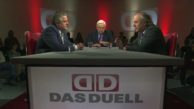 """""""Das Duell"""" bei n-tv: Heiner Bremer spricht mit  Klaus-Peter Willsch (l.) und Michael Machnig (r.)."""