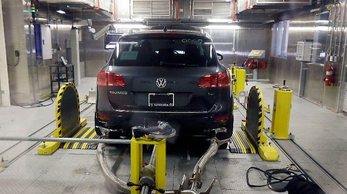 Abgastest beim VW Touareg.