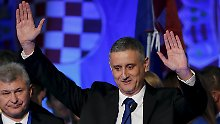 Oppositionsführer Tomislav Karamarko von der Kroatischen Demokratischen Union (HDZ) ließ sich bereits als Wahlsieger feiern.