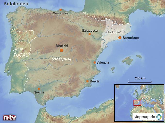 Lage im Nordosten Spaniens: Die Autonome Gemeinschaft Katalonien.