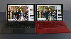 Links das Surface Pro 4, rechts das Vorgängermodell.