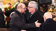 ... erwiesen auch zahlreiche Politiker aus Europa (hier im Bild EU-Parlamentspräsident Martin Schulz und EU-Kommissar Jean-Claude Juncker) und ...