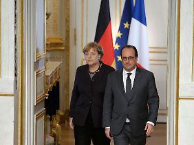 Kanzlerin Merkel und der französische Staaatschef Hollande.