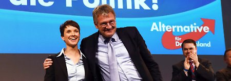 Frauke Petry (hier mit Jörg Meuthen, beide AfD-Parteivorsitzende) wünscht sich mehr Humor von den Journalisten.