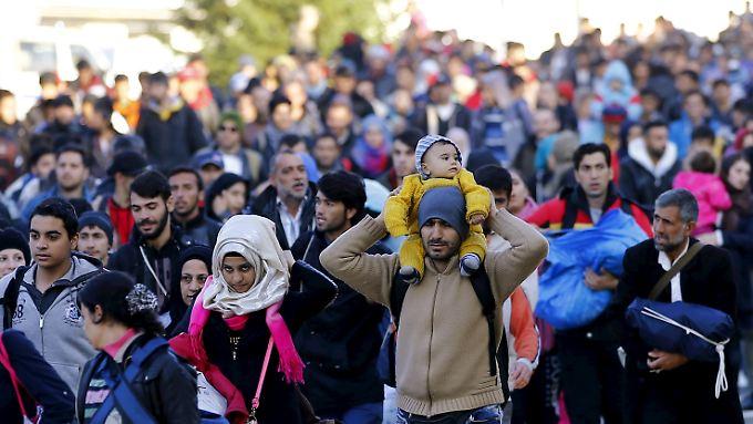 Flüchtlinge an der slowenisch-österreichischen Grenze.
