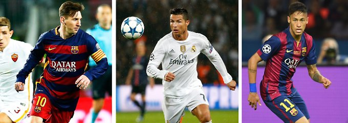 Fußballgötter: Messi (FC Barcelona), Ronaldo (Real Madrid), Neymar (FC Barcelona).