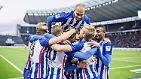 Da darf man sich auch mal freuen: Die Hertha steht auf Platz vier und träumt von der Champions League.