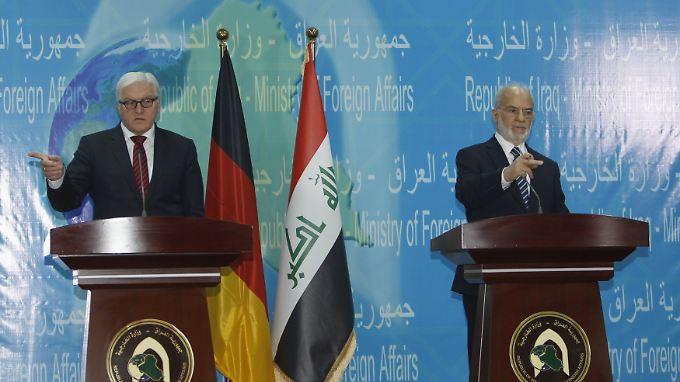 Außenminister Minister Frank-Walter Steinmeier und sein irakischer Amtskollege Ibrahim al-Jaafari: Beide haben Forderungen an den anderen.