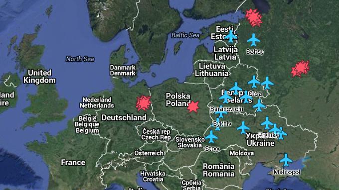 Auf der Karte haben Forscher die potentiellen Ziele für Atomangriffe im Kalten Krieg gekennzeichnet, wie etwa sowjetische Luftwaffenstützpunkte.