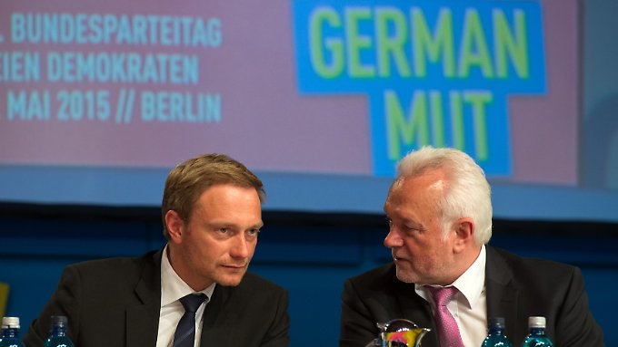 """Mit """"German Mut"""" wollen Christian Lindner (l.) und Wolfgang Kubicki die FDP zurück in den Bundestag bringen."""