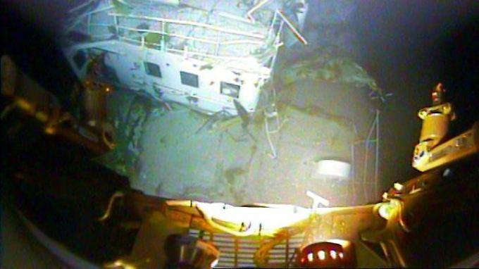 """Blick auf die Brücke der """"El Faro"""": Das Schiff sank am 1. Oktober inmitten des Hurrikans """"Joaquin"""" und liegt seitdem in fast 5000 Metern Tiefe."""