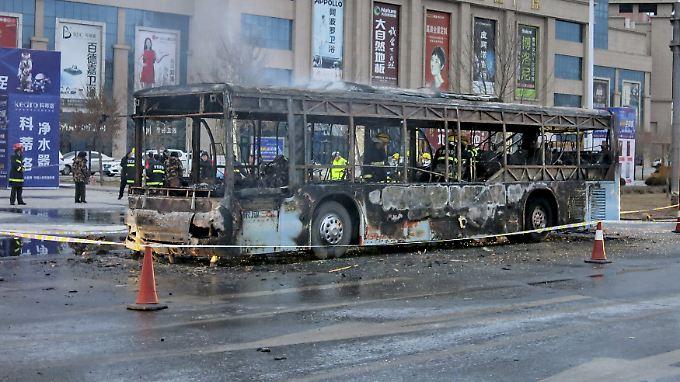 Etwa 40 Passagiere waren im Bus, als das Feuer ausbrach.