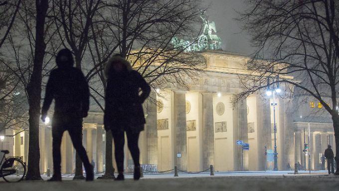 Schnee am Brandenburger Tor.