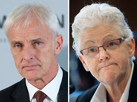 Die beiden wichtigsten Figuren bei der Aufarbeitung des Abgas-Skandals: VW-Chef Matthias Müller (l.) und EPA-Chefin Gina McCarthy.