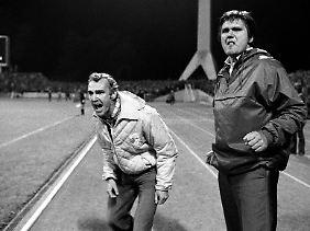 Erfolgreiche Europapokal-Saison 1980/81: Jenas Trainer Hans Meyer mit seinem Assistenten Helmut Stein.