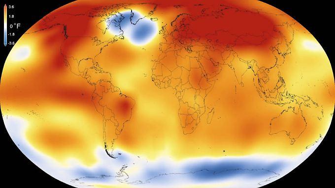 Die Nasa-Grafik zeigt den Erwärmungstrend auf der Erde. Orange sind die Regionen, die wärmer sind als der Durchschnitt der Jahre 1951-80, blau bedeutet: kühler als der Durchschnitt.