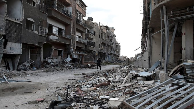 Zerstörung überall in Syrien, wie hier in Jobar, einem Vorort von Damaskus.