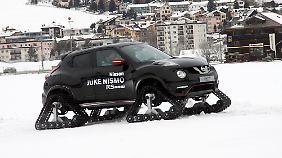 Volle 45 Zentimeter Bodenfreiheit garantieren mit dem Nissan Juke Niama RSnow ein flottes Fotkommen im Schnee.